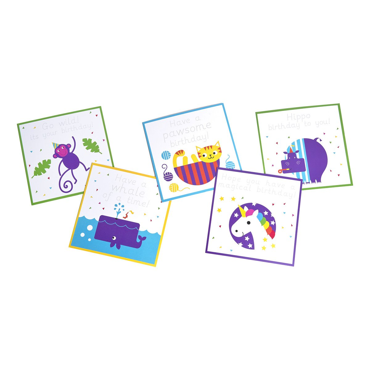 Ages 3-7: Love Writing Co. Pack of 10 Handwriting Practice Birthday Cards 1
